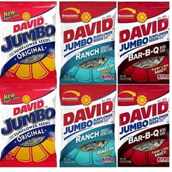 David Sunflower Seeds 5.25 oz Variety Pack (Pack of 6) 2 Bags BBQ Natural Flavor + 2 Bags Ranch Flavor 2 Bags of Regular Flavor (BBQ/Ranch/Original)