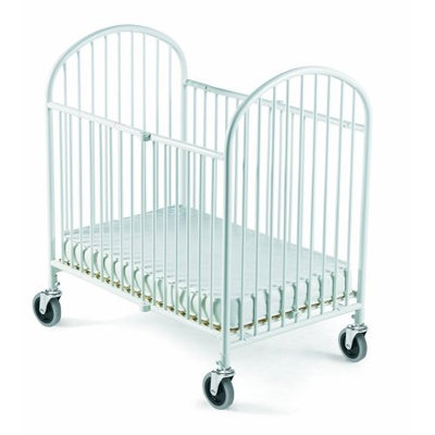 Foundations Pinnacle Folding Compact Fixed-Side Steel Crib with Innerspring Mattress, White