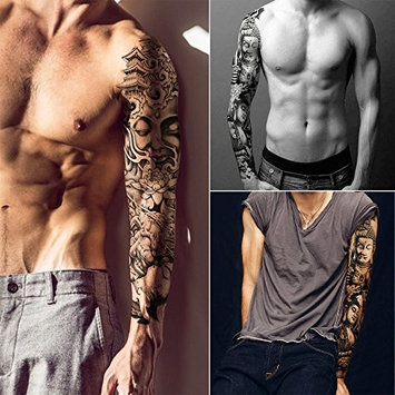 4 Sheets Extra Large Temporary Tattoo Black Full Arm Tattoo Body Stickers for Man Women