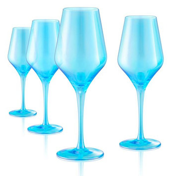 16 oz. Goblet Red Wine Glasses in Turquoise (Set of 4)