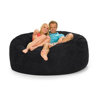 6 Foot Round Relax Sack (Black - Microsuede)