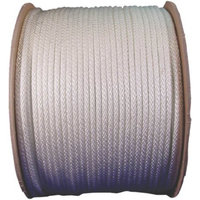 Wellington 10124 Solid Braided Rope, NO 8, 1/4 in Dia x 200 ft L, 75 lb, Nylon, White