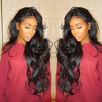 Isshin Beauty 8A Glueless Full Lace Human Hair Wigs With Baby Hair Body Wave 130% Density Natural Black Brazilian Virgin Hair Bleached Knots Lace Front Wigs For Black Women 22inches Natural Color