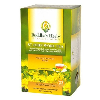 Pure St John Wort's Flower Tea - 22-Count Tea Bags (4 Pack) - Natural Herbs for Positive Mood