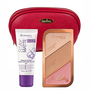 Two Piece Rimmel Makeup Kit with 'Kate London' Face Sculpting Kit and Stay Matte Primer along with a Deep Red Cosmetic Bag by Draizee