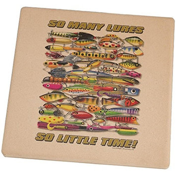 Old Glory So Many Fishing Lures Square Sandstone Coaster