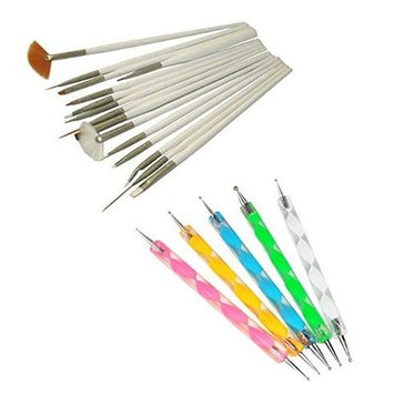 15pc Nail Art Design Dotting Brush Painting Pen Tool Set DIY Fit Tips Beauty Fashion Manicure Pedicure Care + 5ps 2 Way Marbleizing Dotting Pen AOSTEK(TM)