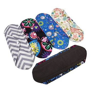 Bamboo Sanitary Pads Cloth,5 Pack Flower Pattern Reusable Cloth Menstrual Diaper for Heavy flow or Overnight Charcoal Layer to Avoid Leaks, Odors and Stains