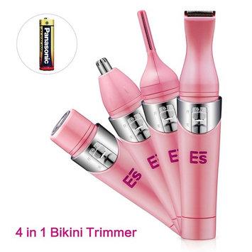 Bikini Trimmer, 4 in 1 Women Shaver Eyebrow Trimmer Nose Trimmer Battery Operated Bikini Grooming Kit Mini Portable Design Women Groomer Kit for Bikini Area/ Armpit / Arm / Leg