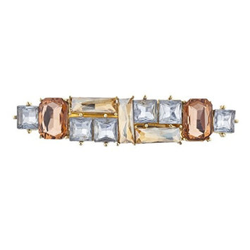 Lux Accessories GoldTone Crystal Champagne Peach Square Stone Barrette Hair Clip