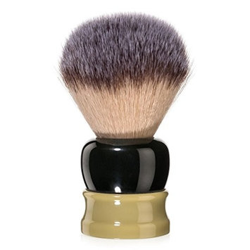 Fine Accoutrements Stout Shaving Brush with Synthetic Angel Hair Fibers, Solid Lathe Turned Resin Handle, Green and G