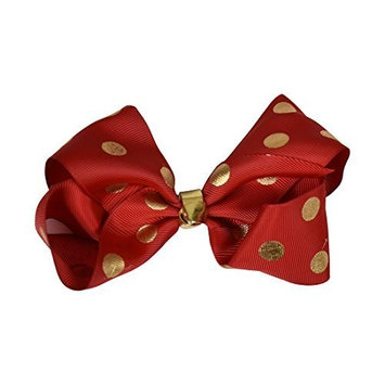 Red Jumbo Bow with Gold Polka Dots by Motique Accessories