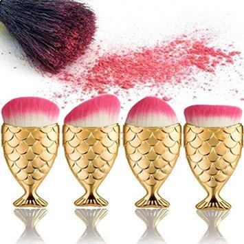 Novelty Makeup Brush Set, Doinshop Fish Scale Brush Fishtail Bottom Powder Blush Makeup Cosmetic Brushes Pack 4