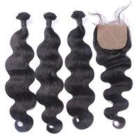 FDshine Peruvian Hair Bundles with Closure 4x4