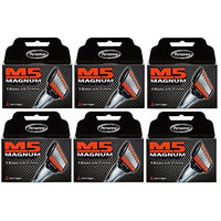Personna M5 Magnum 5 Refill Razor Blade Cartridges, 4 ct. (Pack of 6) + FREE Schick Slim Twin ST for Sensitive Skin