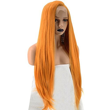 Anogol Hair Cap+Long Wavy Orange Lace Front Wig Synthetic Hair Natural Hairline Wigs For Women Daily Life