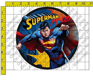 Whimsical Practicality Superman Edible Icing Image Cake Topper (6 Inch Round)