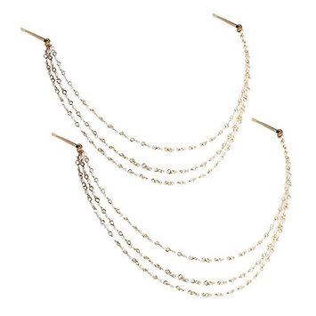 yueton 2pcs Fashion Ladies Artificial Pearl Tassel Chain Clips Barrettes Headband Hair Clips Clamp Headwear Edge Clips Bobby Pins