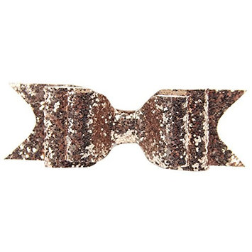 Sanwood Boutique Girls Glitter Hair Bow Clips, Barrettes. Perfect to Wear Alone or With Headband, Hat. (Rose G