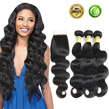 Human Hair Bundles With Closure Brazilian Body Weave Hair Bundles Wave 3 Bundles 100% Unprocessed Remy Virgin Brazilian Hair bundles With Lace Closure Free Part 10A Natural Black Color
