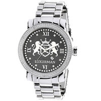 Designer Large Watches: Luxurman Phantom Real Diamond Watch for Men 0.12ct Black MOP Metal Band + Leather Straps