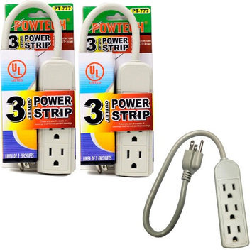 Atb 2 Pc 3 Outlet Power Strip 1ft Heavy Duty Cord 13 Amps UL Breaker Surge 125V New