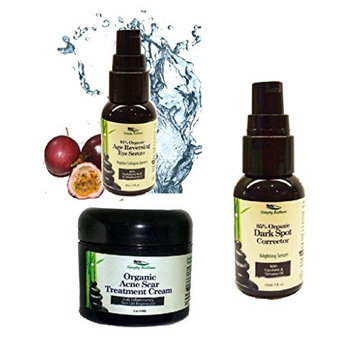 Simply Radiant Beauty Organic, All Natural Clear Skin Treatment- Acne Scar Cream, Clear Skin Acne Serum and Dark Spot Corrector Serum