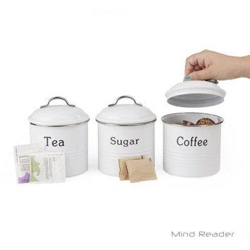 Ems Mind Reader Llc Mind Reader 3 Piece Coffee, Sugar, Tea Metal Canister Set, White
