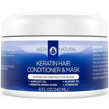 Keratin Complex Hair Mask - At Home Deep Conditioner Treatment for Dry, Frizzy, Fine & Damaged Hair - With Organic Argan Oil - Antibreakage Repair Cream - Dry Scalp Remedy - InstaNatural - 8 oz