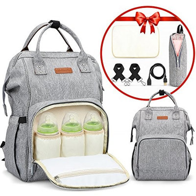Diaper Bag Backpack Large Capacity Multifunction Waterproof Unisex Travel Backpack Nappy Bags with USB Charging Port & Cable Bonus Insulated Bag Soft Changing Pad Stroller Straps