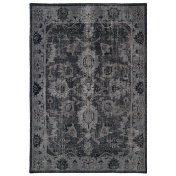 Kaleen Rugs Restoration Collection RES02-02 Black Hand-Knotted 2' x 3' Rug