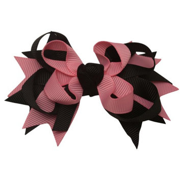 Sophia's Girls Pink Black Colored Grosgrain Stacked Bow Alligator Hair Clippie