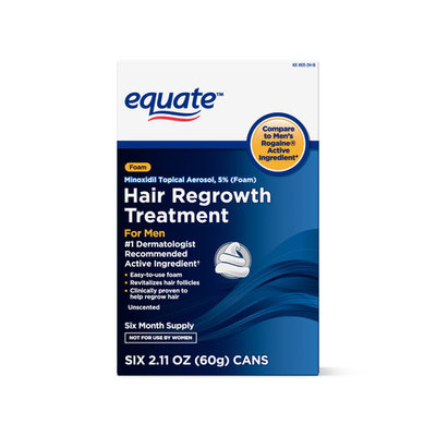 Equate Men's Minoxidil Foam for Hair Regrowth, 6-Month Supply