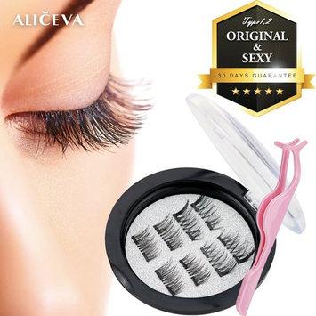 Aliceva Magnetic Eyelashes x8 [Original] - Premium Magnet Quality / Best 3D False Reusable Eyelash (8 piece) + Iron Plate Case + Plastic Eyelash Tweezers [TYPE1,2]