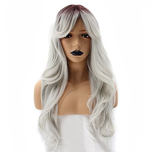 ANOGOL Cap+Long Wave Dark Root Short Roots Ombre Gray Synthetic Wig for Women Hair Wigs with Bangs