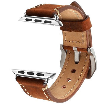 illunt Luxury Leather Wristband with Metal Clasp and Adapters for Apple Watch Series 1, Series 2 42mm (Brown)