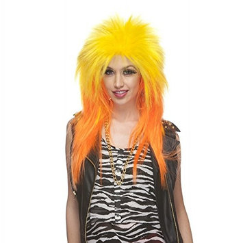 Characters Extra Long Rocker Synthetic Wig Yellow And Orange