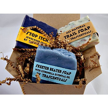 Outdoors Soap Gift Set 3 All Natural Soaps in 1 Gift-able Box W/Ribbon and Bow Includes Trail Soap, Skeeter Beater and Stop Itch Soaps For Outdoors-men (SINGLE 3 PACK)