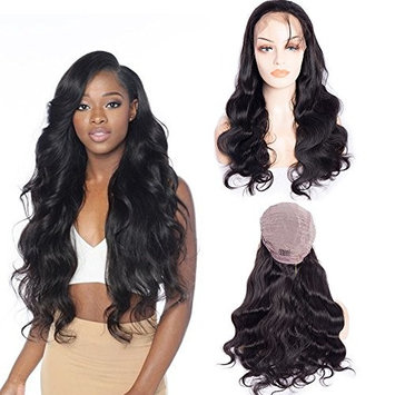 Maxine 8A Lace Front Wig unprocessed virgin hair Wig Body Wave Wig with 180 Density Pre-Plucked Hairline for Black Woman Natural Color (20inch)