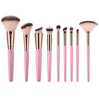 Jocestyle 9pcs Soft Hair Wood Handle Contour Face Pro Makeup Brushes Set Beauty Tool