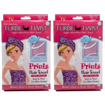 Turbie Twist Microfiber Hair Towel (2 Pack) Signature Prints Pink-Purple