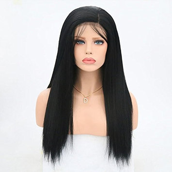 Rongduoyi Yaki Straight Long Synthetic Lace Front Wigs for Women Black Color Heat Resistant Fiber Wig Black Color(#1B,18inch)