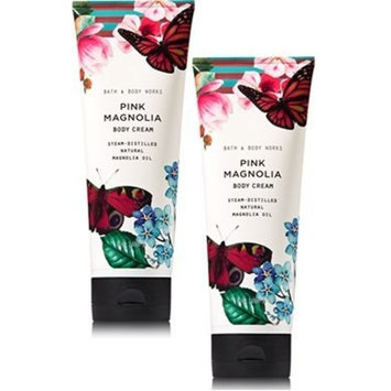 Bath and Body Works 2 Pack Pink Magnolia with Magnolia Oil Body Cream 8 Oz.