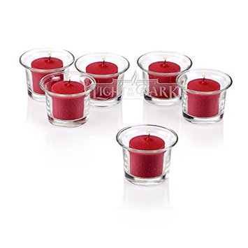 Light In The Dark Clear Glass Lip Votive Candle Holders with Red Votive Candles (Set of 72)