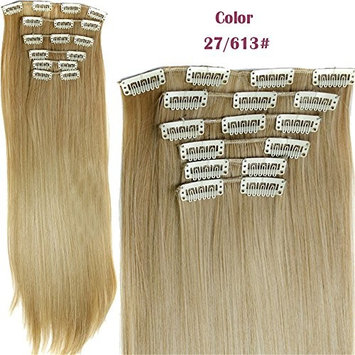 Fashion Women 24 Inches Straight Full Head 6 Separate Pieces Heat Resistance Synthetic Hair Clip in Hair Extensions 140g (27/613#)