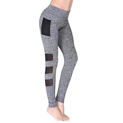 Women Yoga Running Workout Capri Legging Fashion Patchwork High Waist Stretch Cropped Trousers