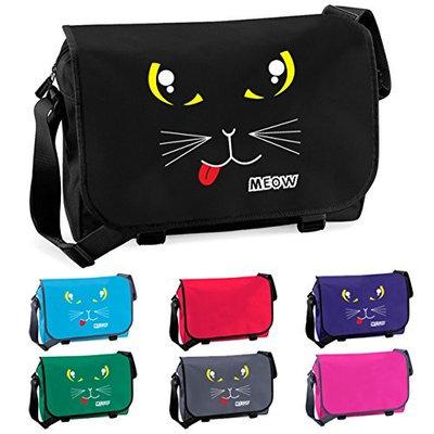 Cat Face Kitten Meow Messenger Shoulder Bag Surf Blue [Surf Blue]