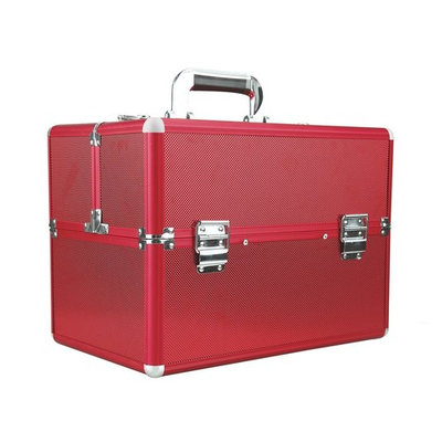 FXTXYMX Makeup Train Cases Professional Large Make Up Boxes Artist Organizer Kit Makeup Cases (Red)[US STOCK]