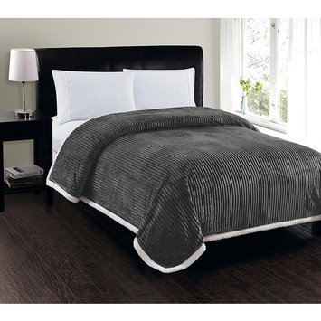 Heavy Weight Stripe Design Ultra Plush Blanket, Full/Queen, Gray