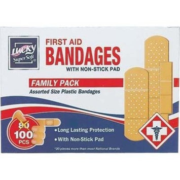 Supersoft® First Aid Bandages with Non-Stick Pad. Band Aid, Assorted Sizes Family Pack - 100ct Pack of 3 (300ct Total)